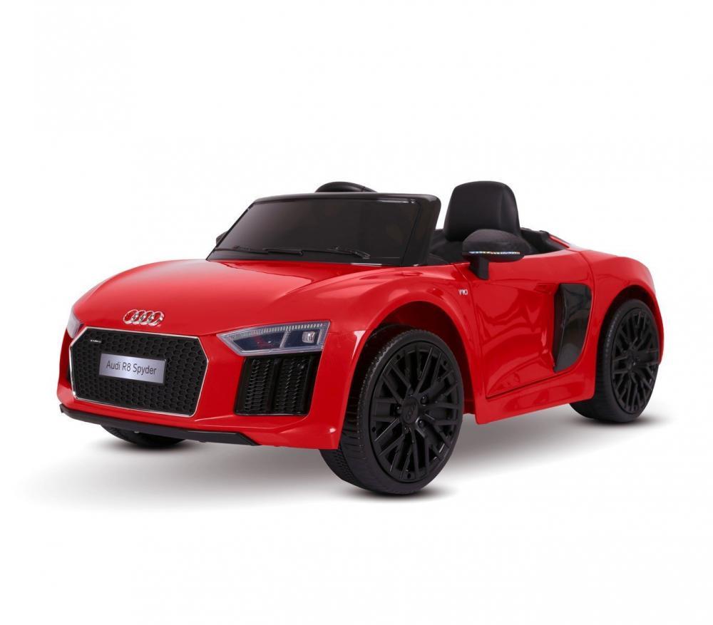 Masinuta electrica cu roti din cauciuc si scaun de piele Audi R8 Spyder Red - 2