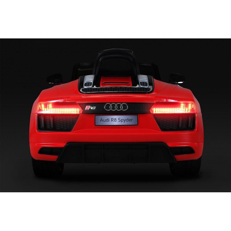 Masinuta electrica cu roti din cauciuc si scaun de piele Audi R8 Spyder Red - 3