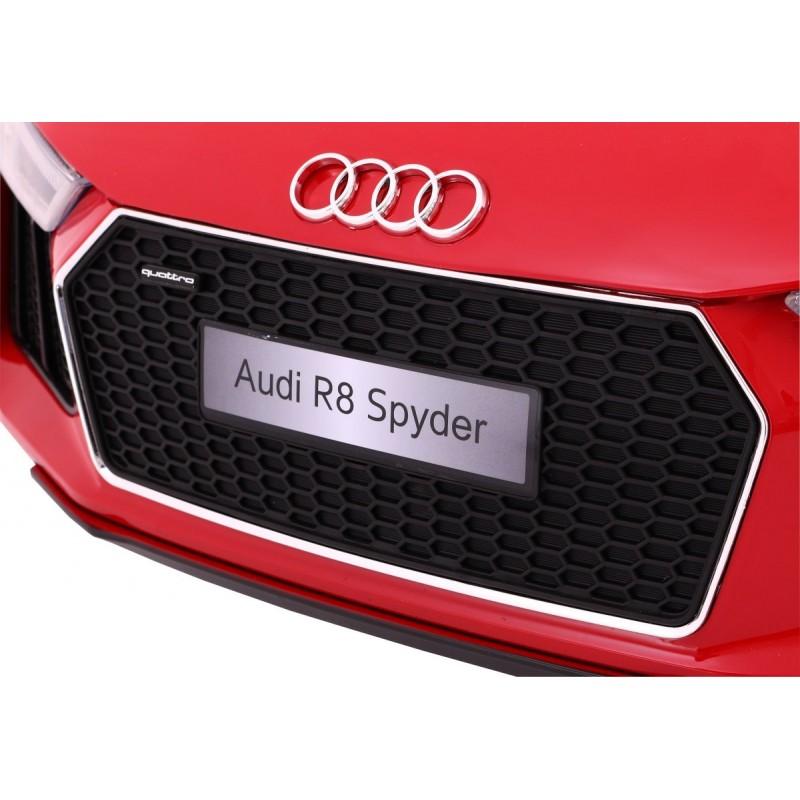 Masinuta electrica cu roti din cauciuc si scaun de piele Audi R8 Spyder Red - 5