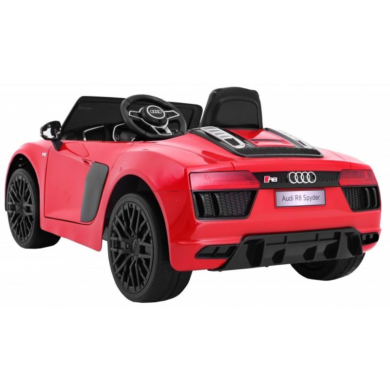 Masinuta electrica cu roti din cauciuc si scaun de piele Audi R8 Spyder Red - 8