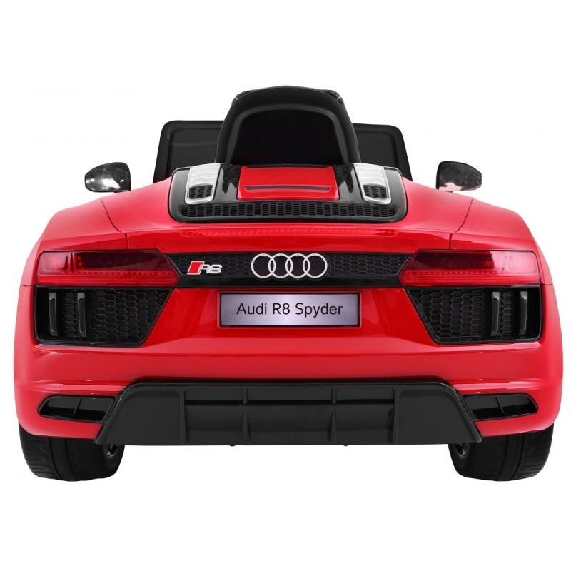 Masinuta electrica cu roti din cauciuc si scaun de piele Audi R8 Spyder Red - 9
