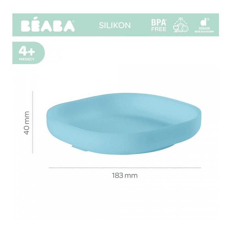 Farfurie silicon cu ventuza bleu