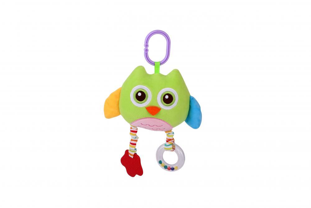 Jucarie zornaitoare din plus cu oglinda Owl 29,5 cm Green