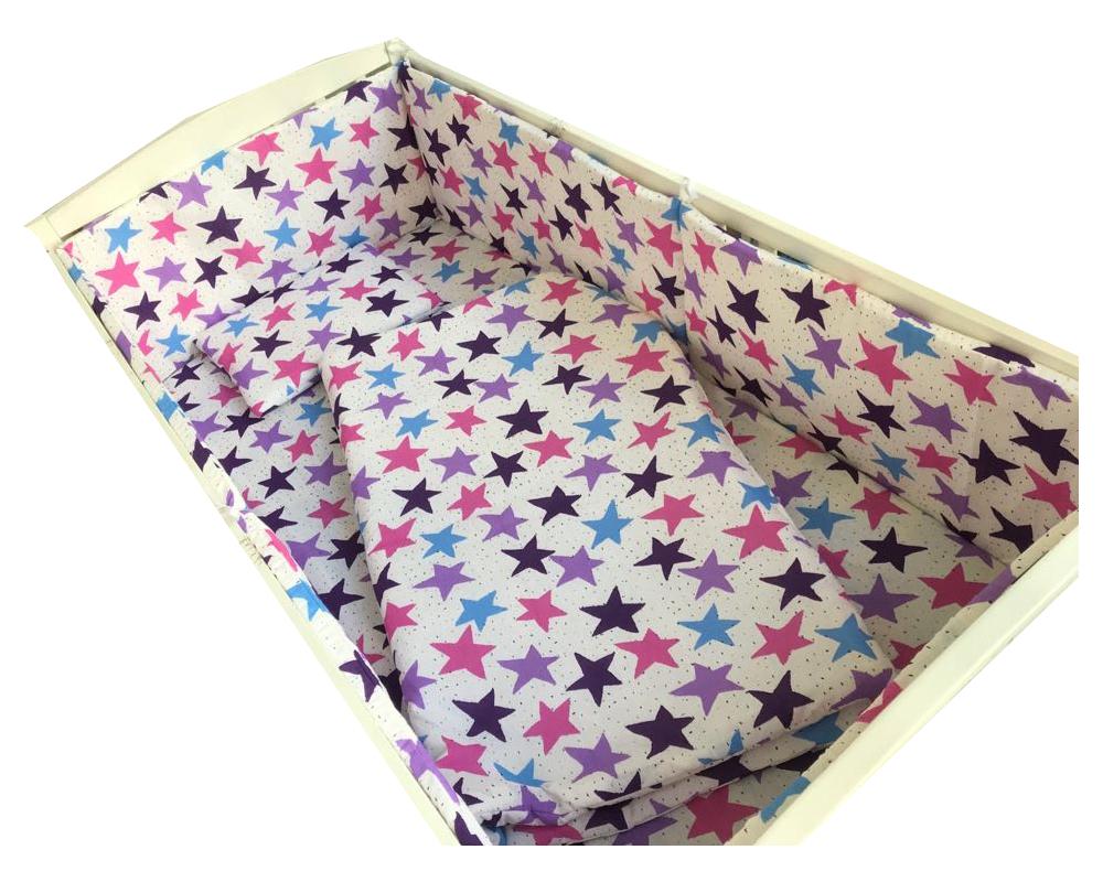 Lenjerie patut cu 5 piese Stelute roz-mov 140×70 cm din categoria Camera copilului de la Croitoria Noastra