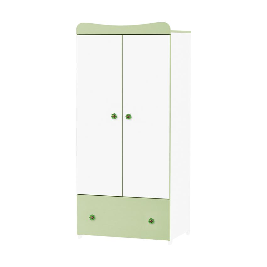 Dulap garderoba 2 usi Exclusive White Green din categoria Camera copilului de la LORELLI