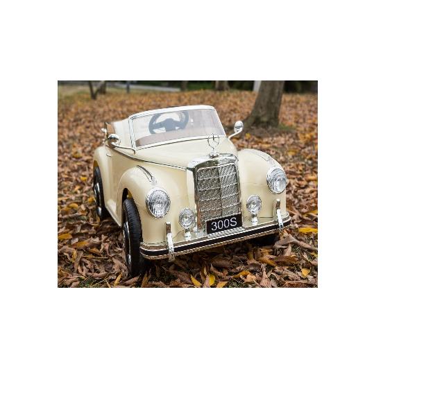 Masinuta electrica cu roti de cauciuc Merceses Benz 300s Beige