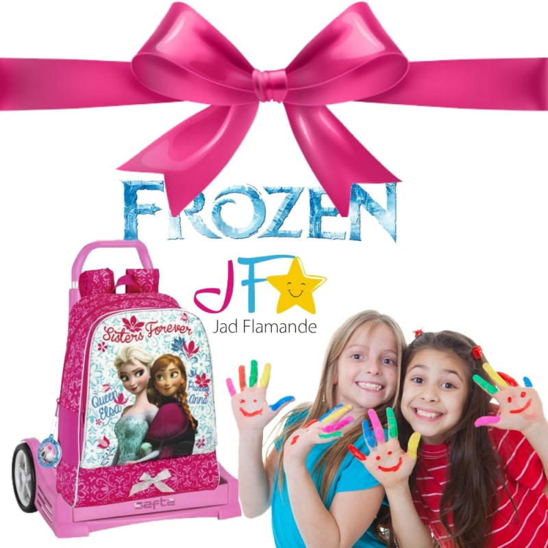 Pachet promotional Ghiozdan Frozen + Troler Evolution Roz