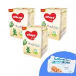 Pachet 3 x Lapte praf Milupa Milumil Junior 2+, 1200g, 2ani+ si 2 x Servetele umede pentru bebelusi WaterWipes 60 buc