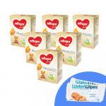 Pachet 6 x Lapte praf Milupa Milumil Junior 1+, 600g, 12luni+ si 2 x Servetele umede pentru bebelusi WaterWipes 60 buc