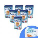 Pachet 6 x Lapte praf Nutricia Aptamil Junior 2+, 800g, 2ani+ si 3 x Servetele umede pentru bebelusi WaterWipes 60 buc