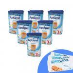 Pachet 6 x Lapte praf Nutricia Aptamil Junior 3+ 800g si 3 x Servetele umede pentru bebelusi WaterWipes