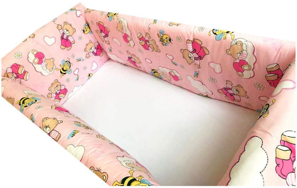 Aparatori Maxi Ursi cu albine pe roz 140x70 cm