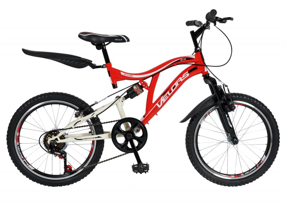 Bicicleta copii MTB-FS 20 Velors V2059A cadru otel rosu alb