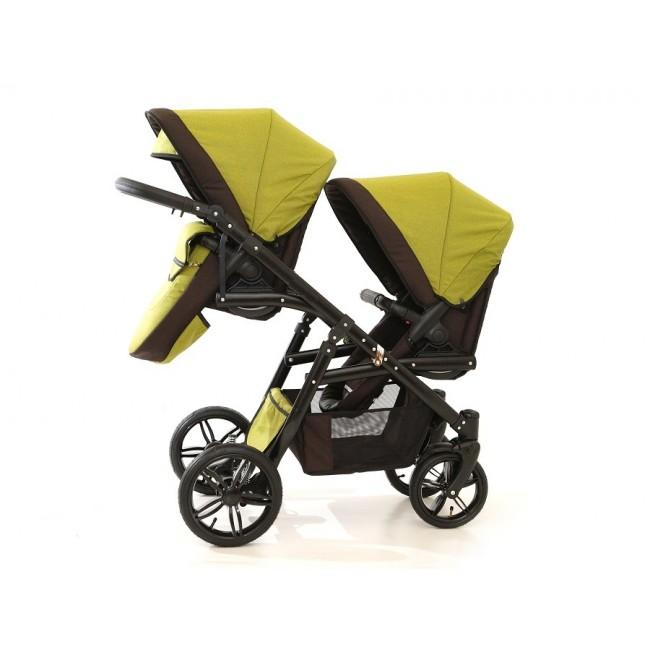 Carucior gemeni Tandem Pj Stroller Lux 3 in 1 Khaki