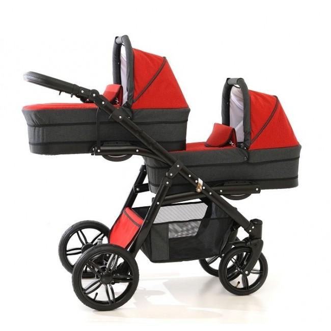Carucior gemeni Tandem Pj Stroller Lux 3 in 1 Red - 5