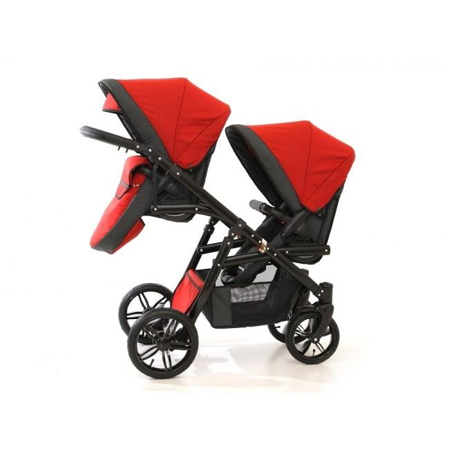 Carucior gemeni Tandem Pj Stroller Lux 3 in 1 Red imagine