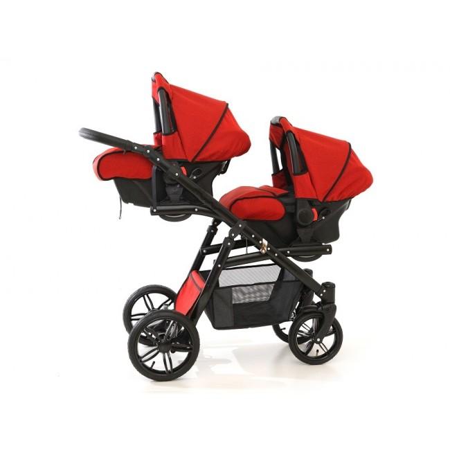 Carucior gemeni Tandem Pj Stroller Lux 3 in 1 Red - 3
