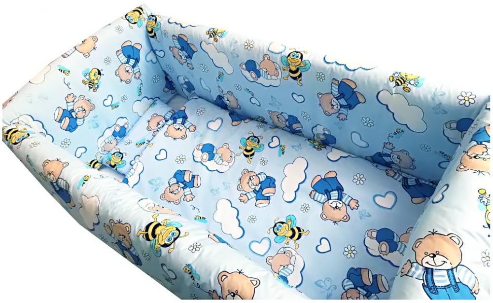 Lenjerie de pat Maxi Ursi cu albine pe albastru 140x70 cm