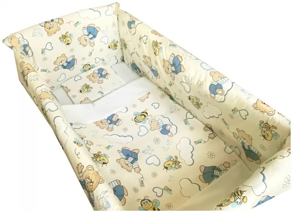 Lenjerie de pat Maxi Ursi cu albine pe crem 120x60 cm