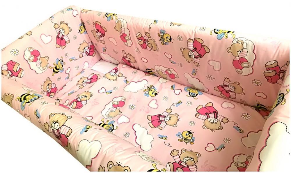 Lenjerie de pat Maxi Ursi cu albine pe roz 140x70 cm