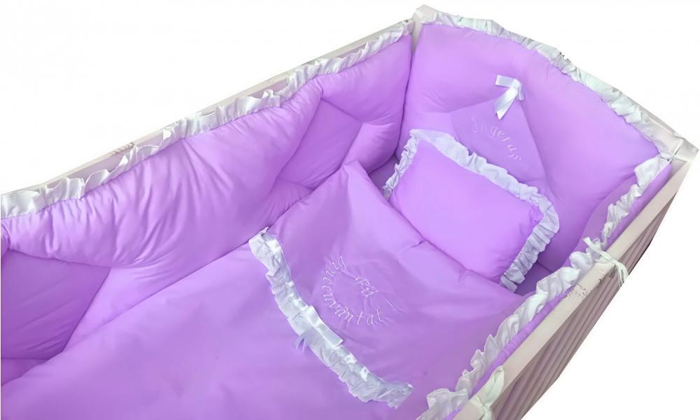 Lenjerie de pat bebelusi brodata Fii binecuvantat ingeras 120x60 cm lila