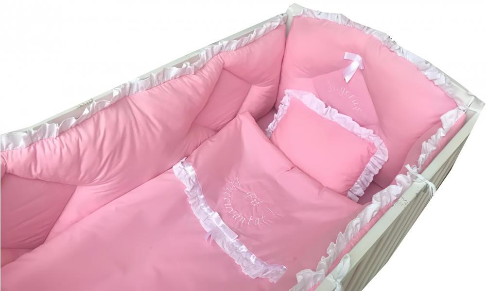 Lenjerie de pat bebelusi brodata Fii binecuvantat ingeras 120x60 cm roz