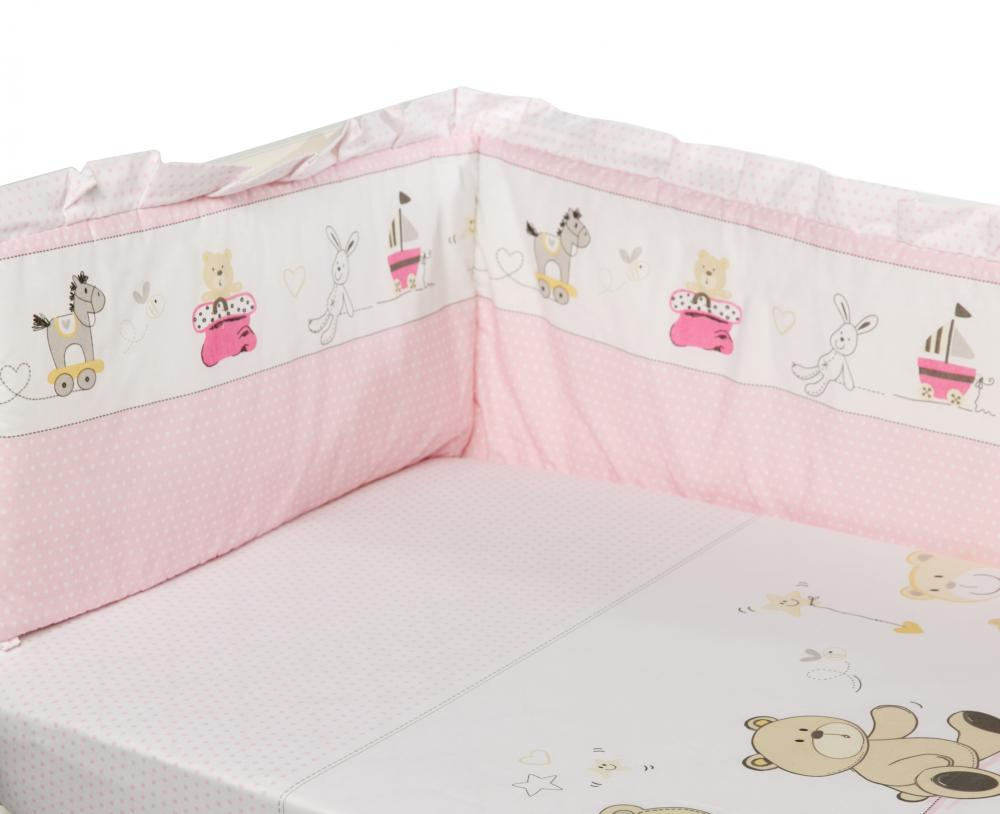 Lenjerie Patut Cu 5 Piese 120x60cm Teddy Play Pink M2