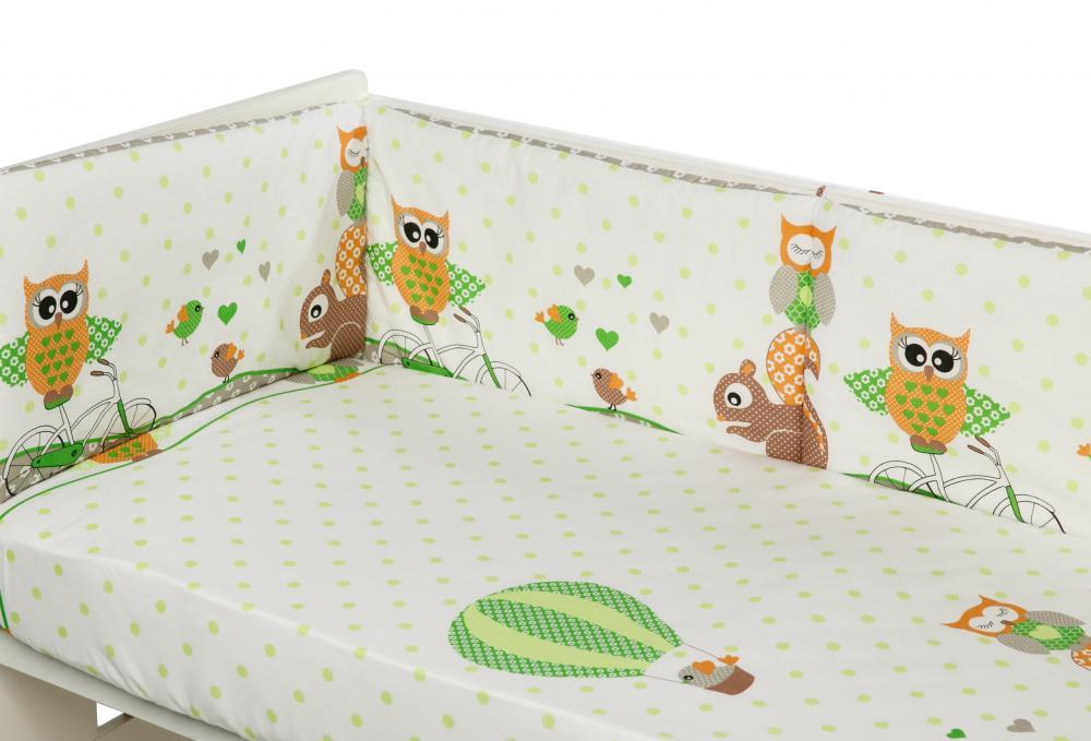 Lenjerie Patut Cu 5 Piese Happy Owls Green 052