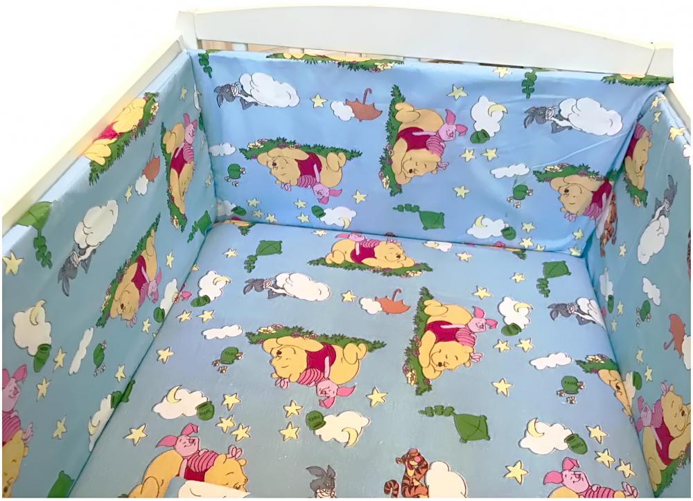 Lenjerie patut cu 5 piese Winnie The Pooh albastru 120x60 cm