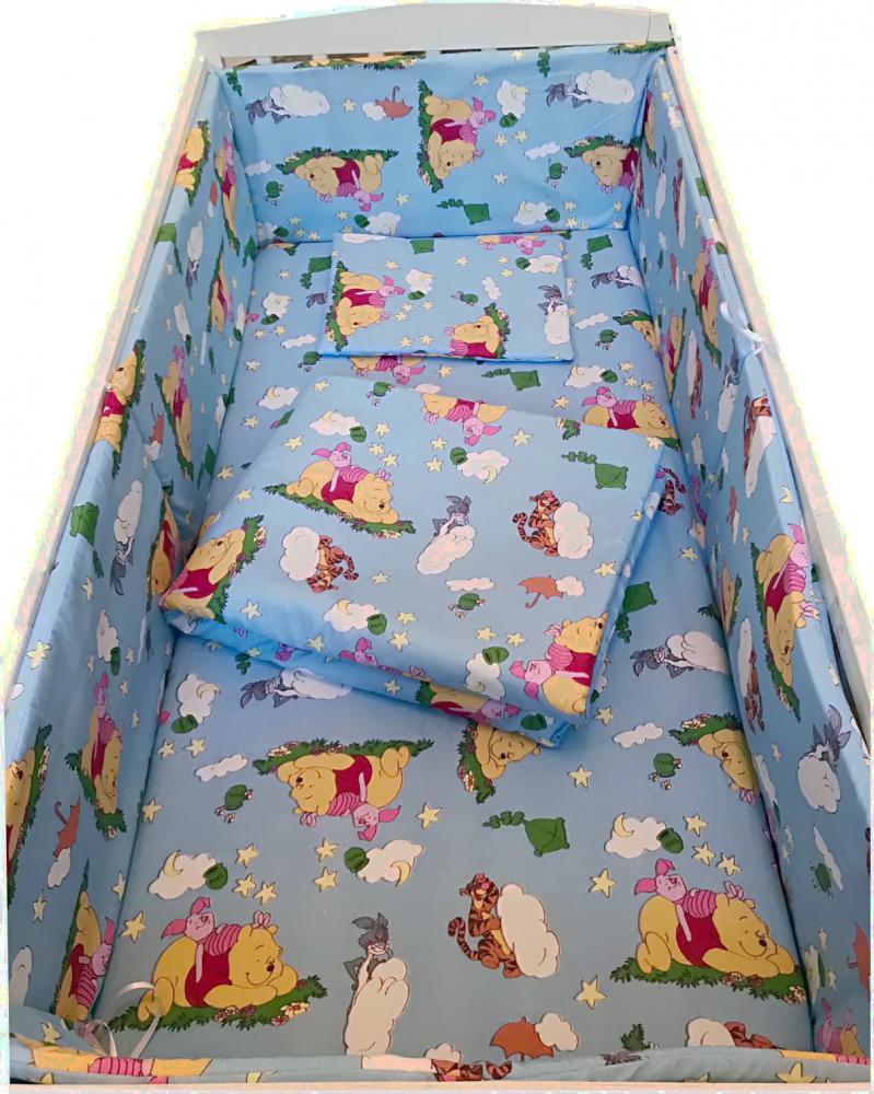 Lenjerie patut cu 5 piese Winnie The Pooh albastru 140x70 cm