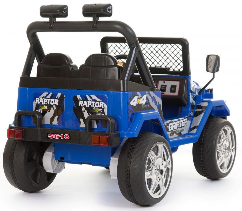 Masinuta electrica cu doua locuri si roti din plastic Drifter Jeep 4x4 Albastru - 1