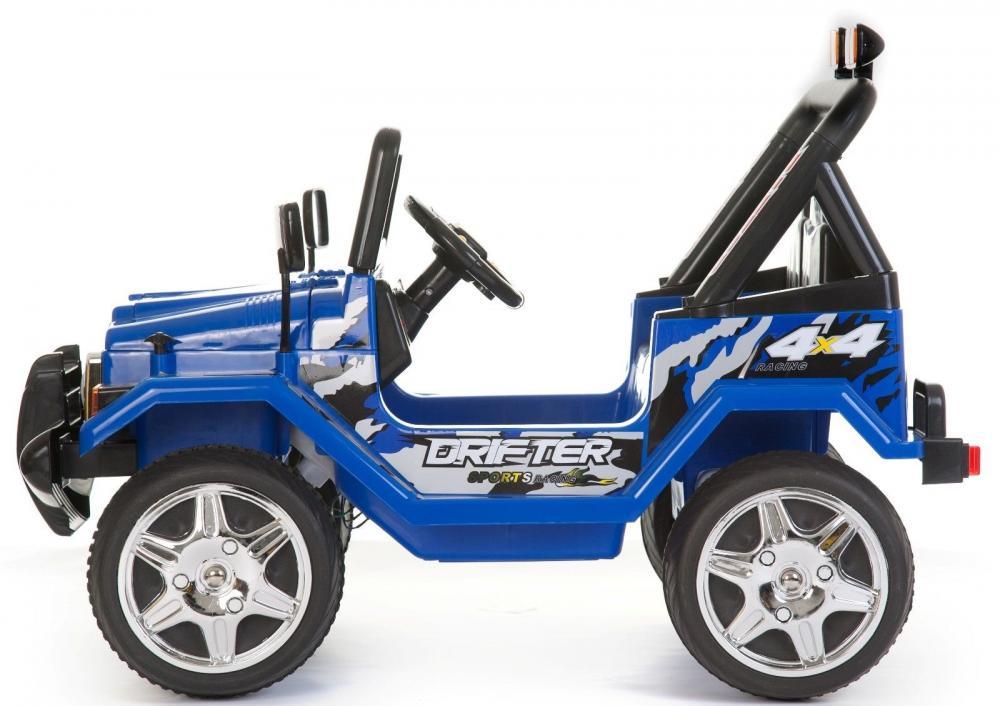 Masinuta electrica cu doua locuri si roti din plastic Drifter Jeep 4x4 Albastru - 4