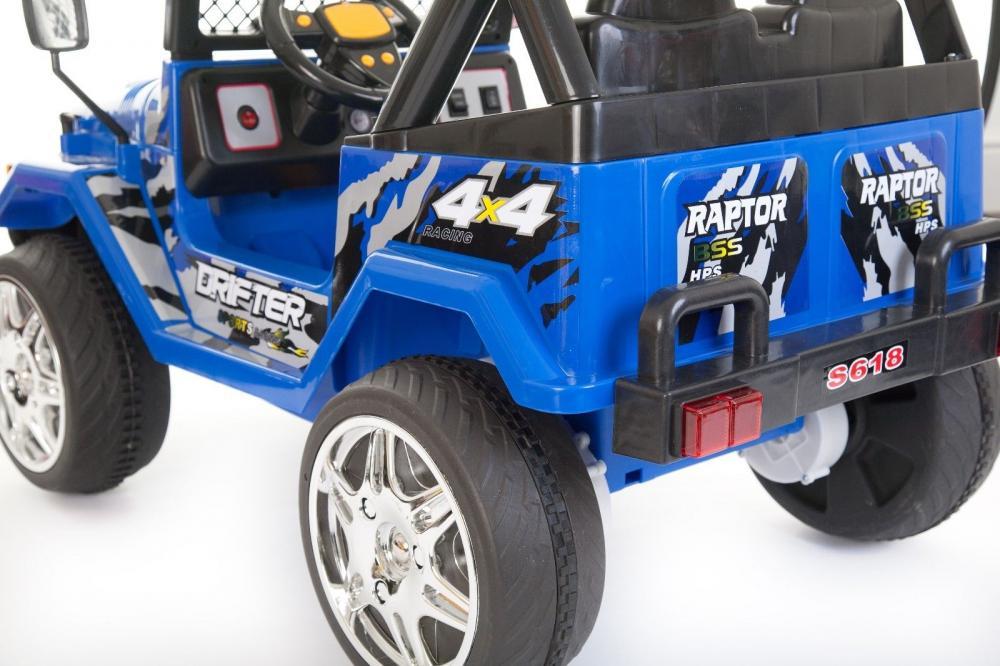 Masinuta electrica cu doua locuri si roti din plastic Drifter Jeep 4x4 Albastru - 6