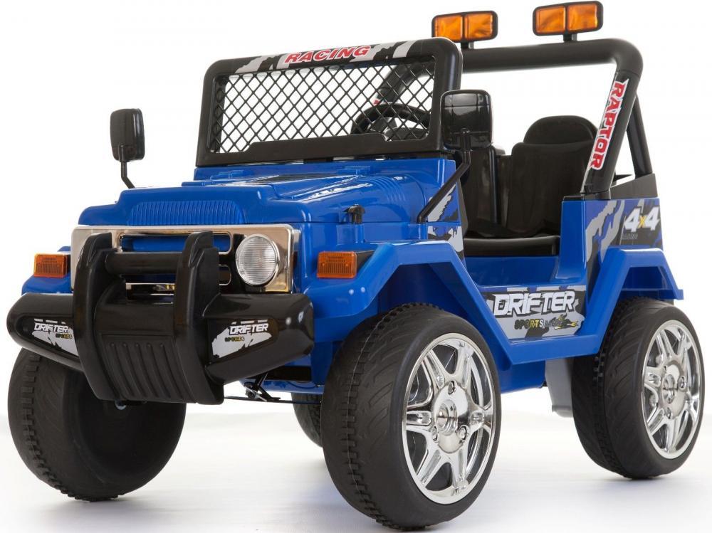 Masinuta electrica cu doua locuri si roti din plastic Drifter Jeep 4x4 Albastru - 9