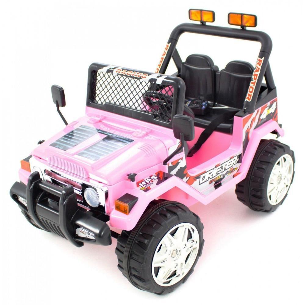 Masinuta electrica cu doua locuri si roti din plastic Drifter Jeep 4x4 Roz - 10