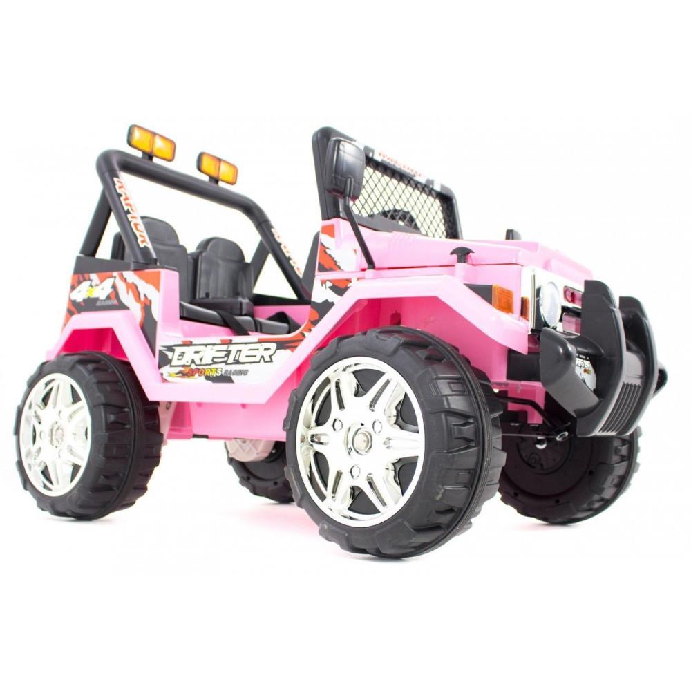 Masinuta electrica cu doua locuri si roti din plastic Drifter Jeep 4x4 Roz - 5