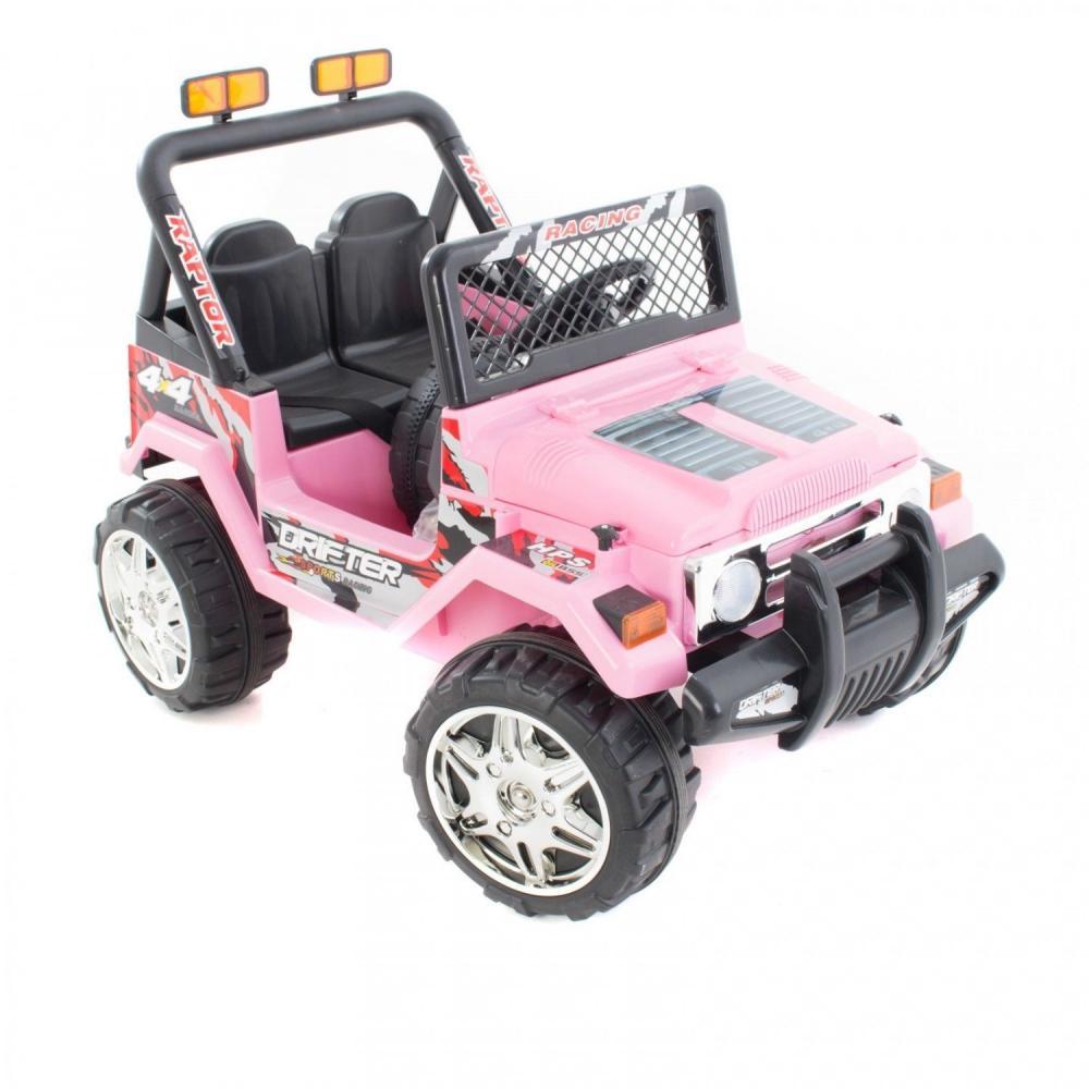 Masinuta electrica cu doua locuri si roti din plastic Drifter Jeep 4x4 Roz - 7