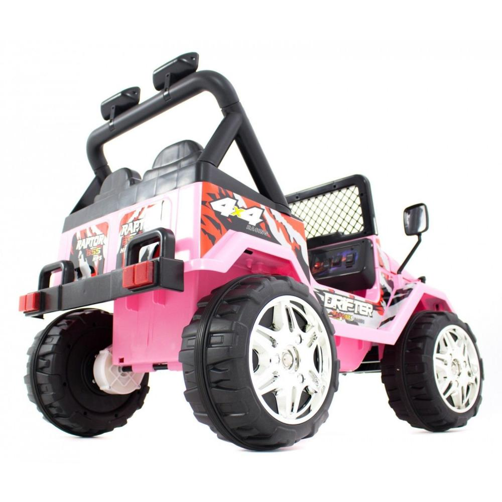 Masinuta electrica cu doua locuri si roti din plastic Drifter Jeep 4x4 Roz - 8