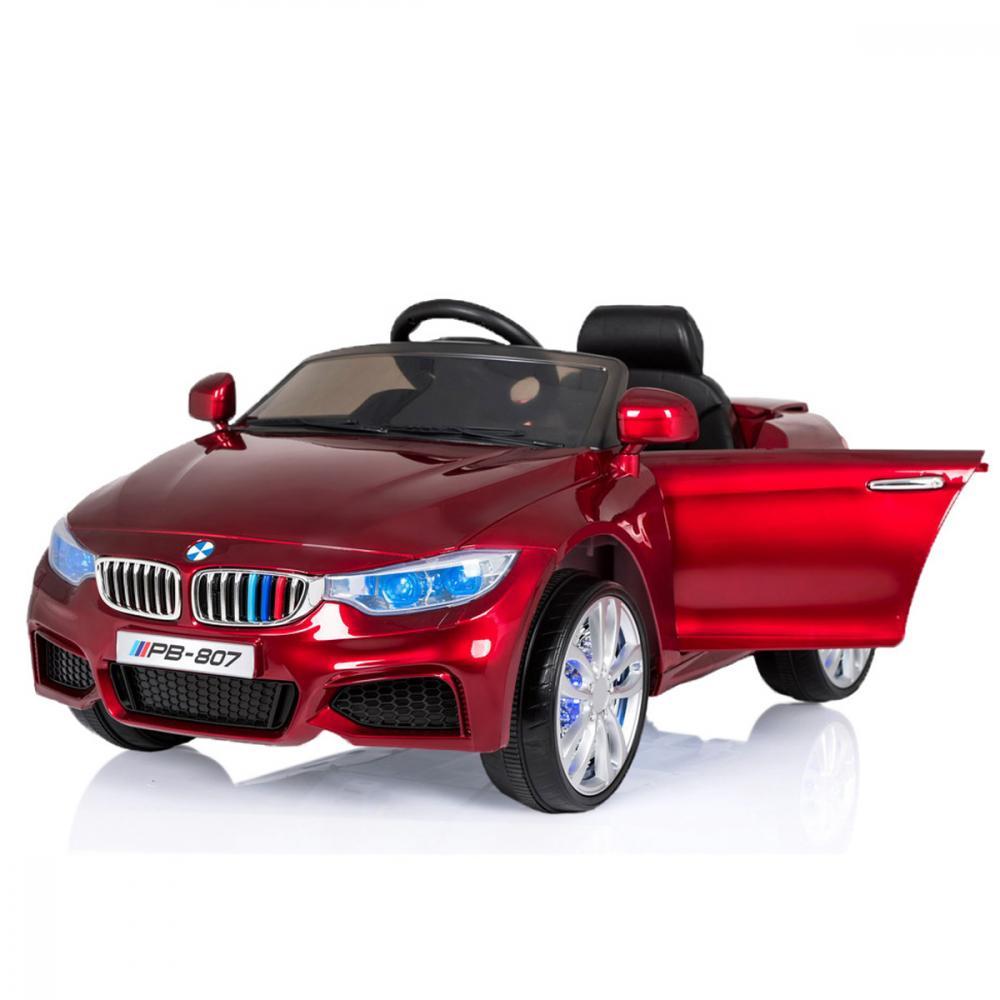 Masinuta electrica cu scaun de piele si roti din cauciuc M3 Red Painting imagine