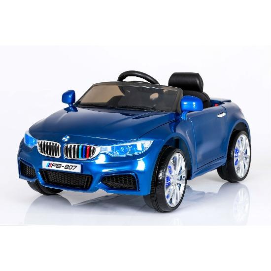 Masinuta electrica cu scaun de piele si roti din cauciuc M3 Blue Painting