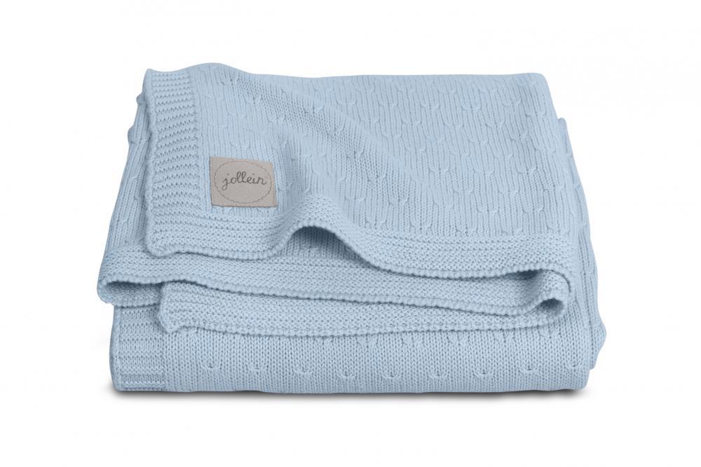Paturica albastra tricotata Jollein 100 x 150 cm