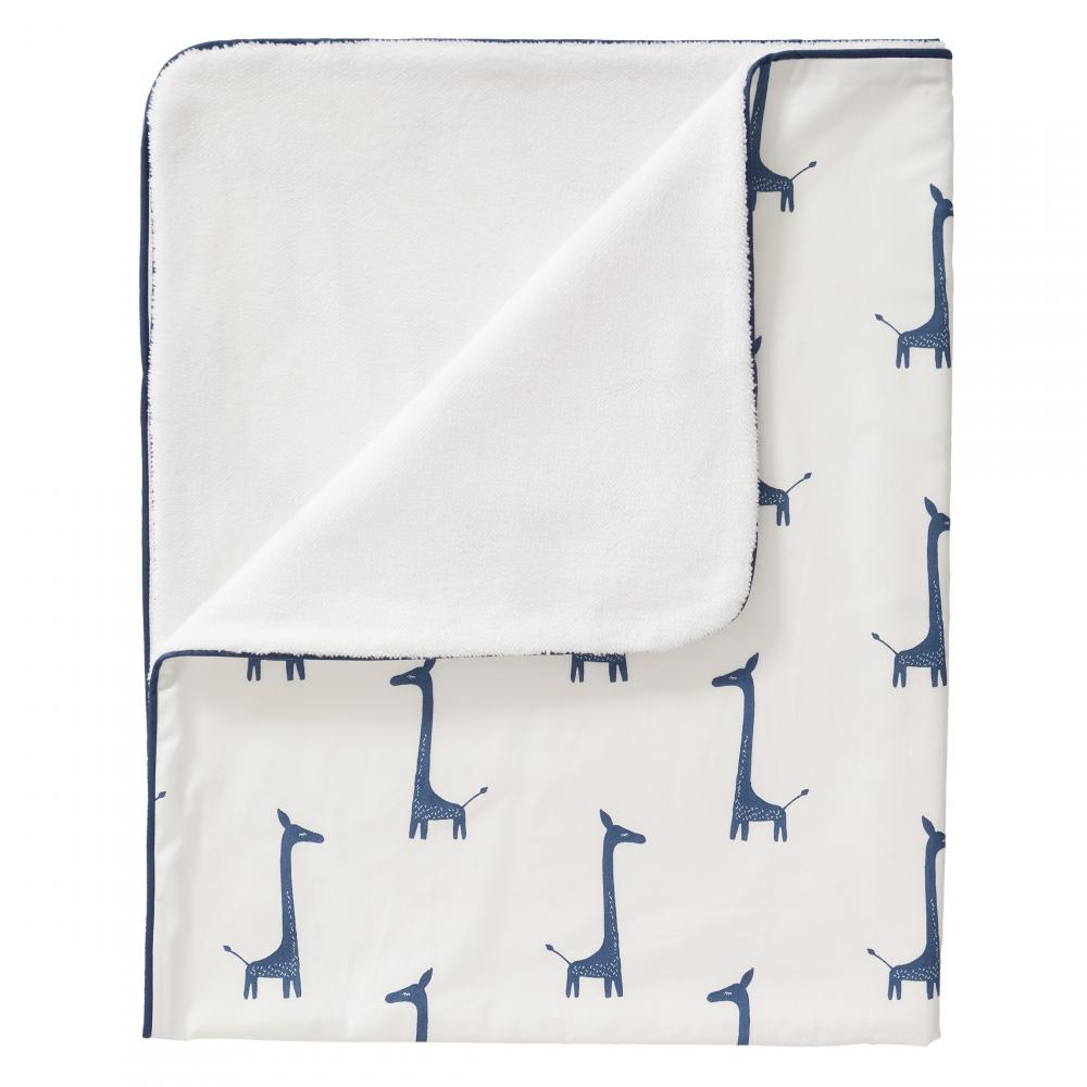 Paturica Captusita Din Bumbac Organic Giraf Indigo Blue 80x100 Cm