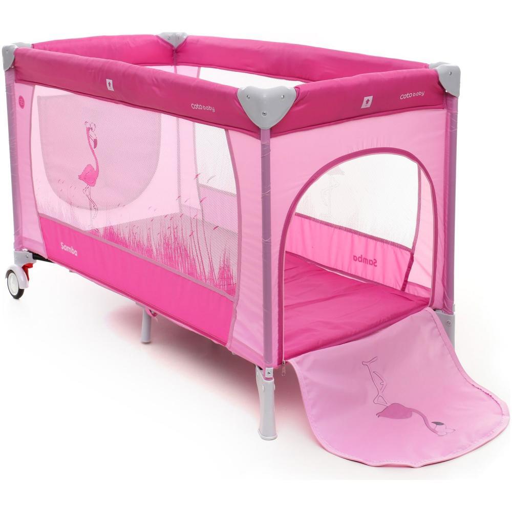 Patut pliabil cu 2 nivele Coto Baby Samba Plus Pink