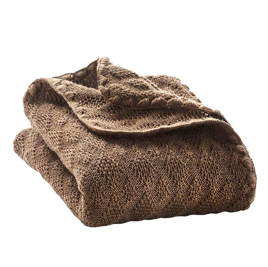 Paturica din lana merinos organica tricotata 100x80 cm Disana Hazelnut
