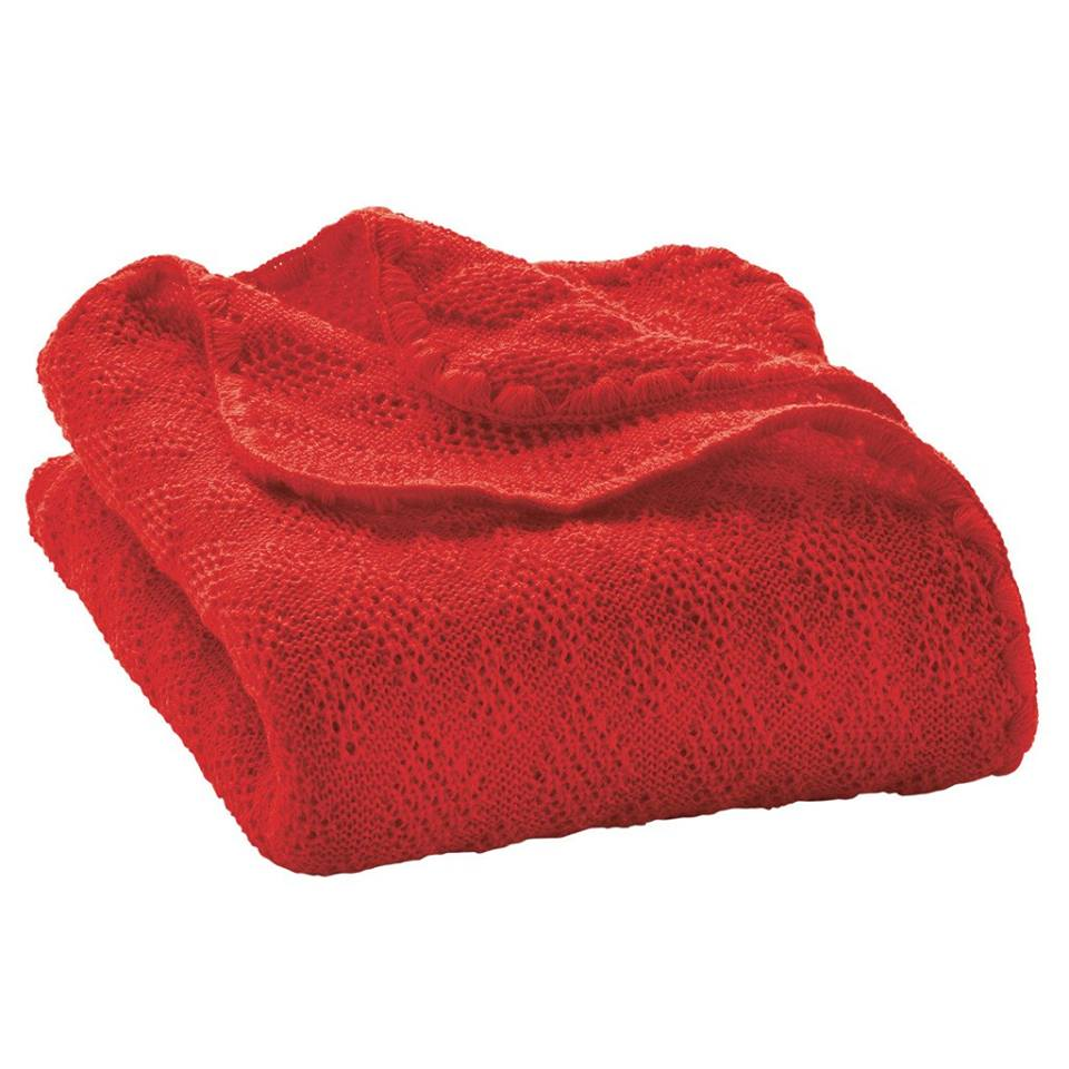 Paturica din lana merinos organica tricotata 100x80 cm Disana Red