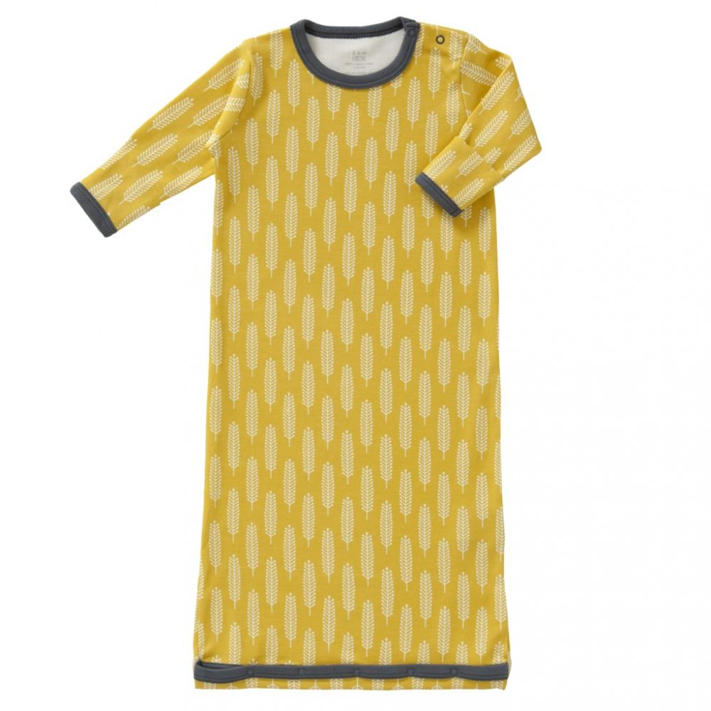 Sac de dormit cu maneca lunga din bumbac organic Fresk Havre vintage yellow 6-12 luni