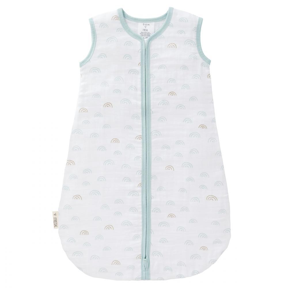 prima rata vânzare Statele Unite online vânzarea de încălțăminte Sac de dormit din bumbac organic exterior muselina Fresk Rainbow blue 0-6  luni - Nichiduta.ro