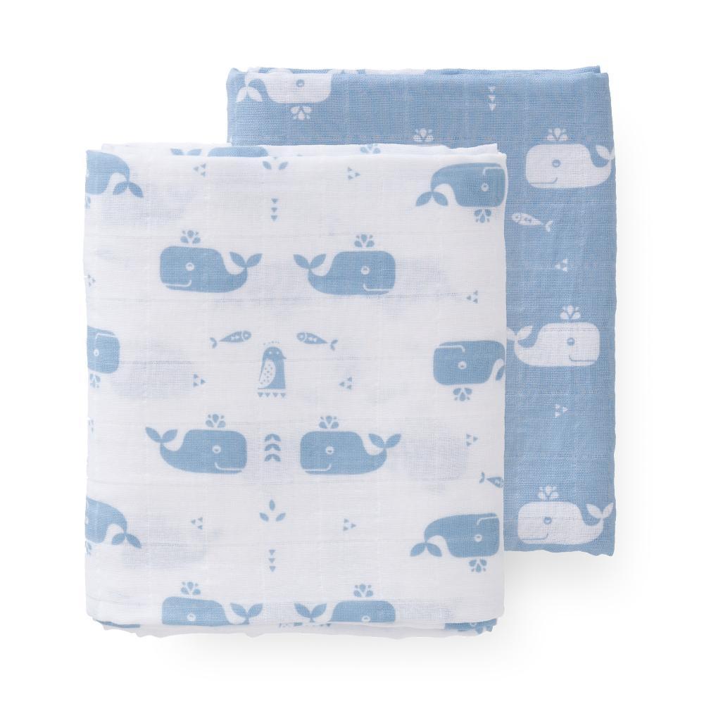 Set 2 Paturici Muselina De Infasat Din Bumbac Organic Whale Blue Fog 70x60 Cm