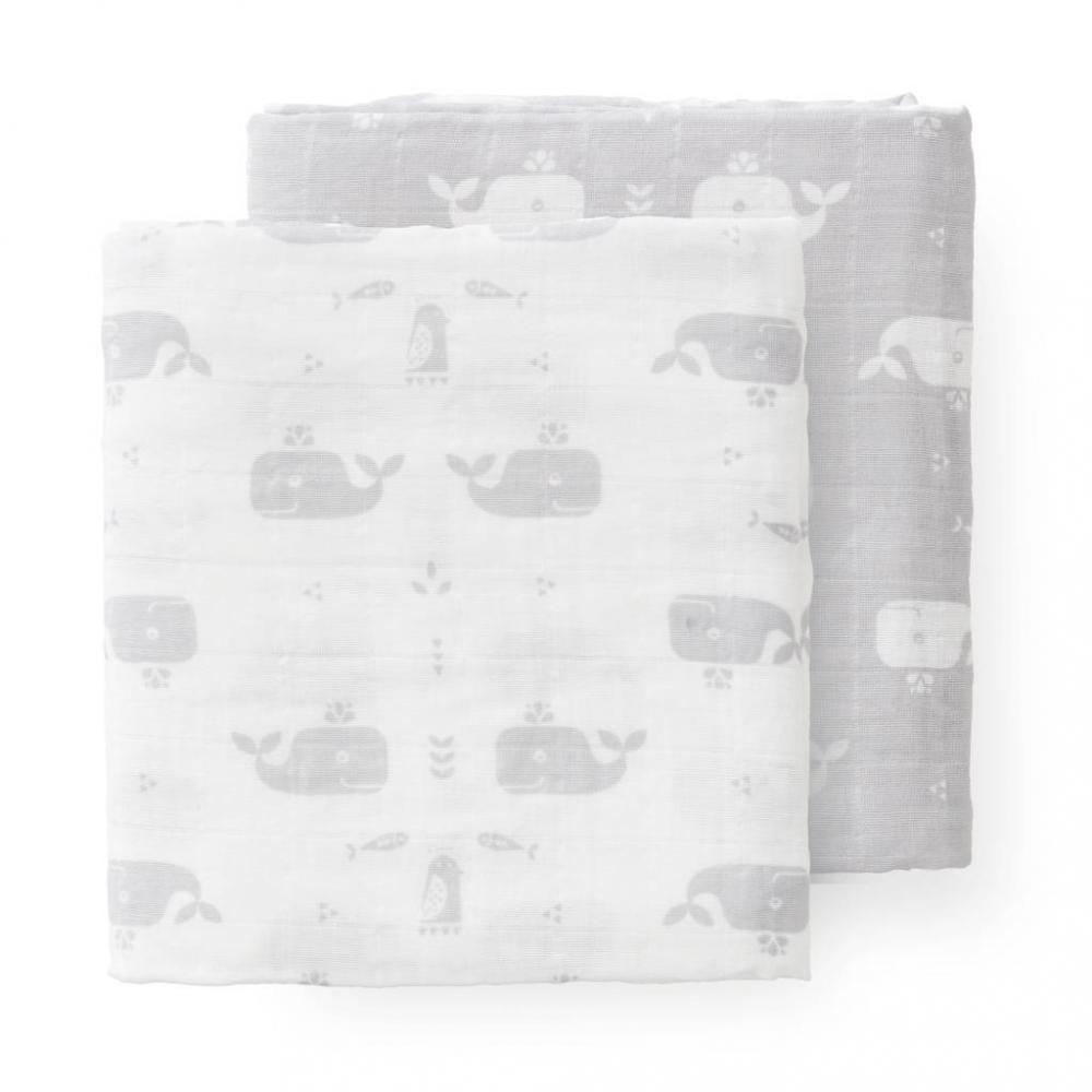 Set 2 Paturici Muselina De Infasat Din Bumbac Organic Whale Dawn Grey 70x60 Cm