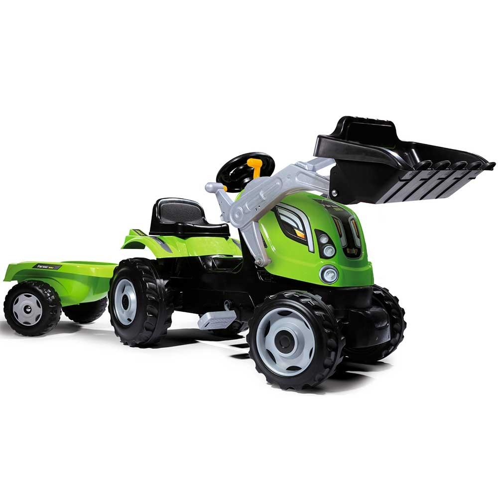 Tractor cu pedale si remorca Smoby Farmer Max verde - 3